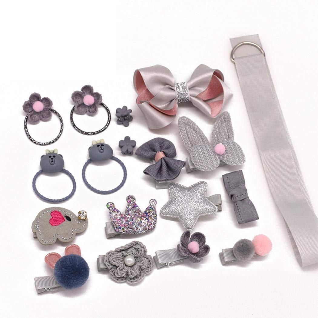 ZEARO 18Pcs Children Girls Bow Hair Clips Set Cartoon Rubber Hair Ring Band Hair Accessories Set