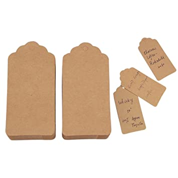 EKingstore 100PCS Wedding Retangle Kraft Paper Tag Bonbonniere Favor Gift Tags With Jute Twines Brown