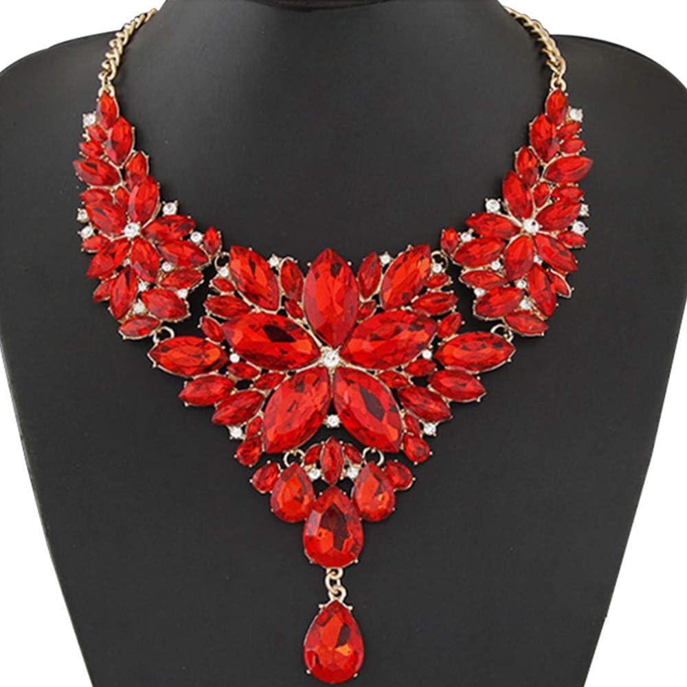 WAN Collar de Piedras Preciosas para Mujeres, Collar Babero, Collar de Temperamento metálico, Esmalte, Lujo, Brillo, Moda, Collar de Personalidad,Red