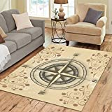 Cheap InterestPrint Floral with Old Compass Area Rugs Carpet 7 x 5 Feet, Vintage Sailor Compass Modern Carpet Floor Rugs Mat for Children Kids Home Living Dining Room Playroom Decoration