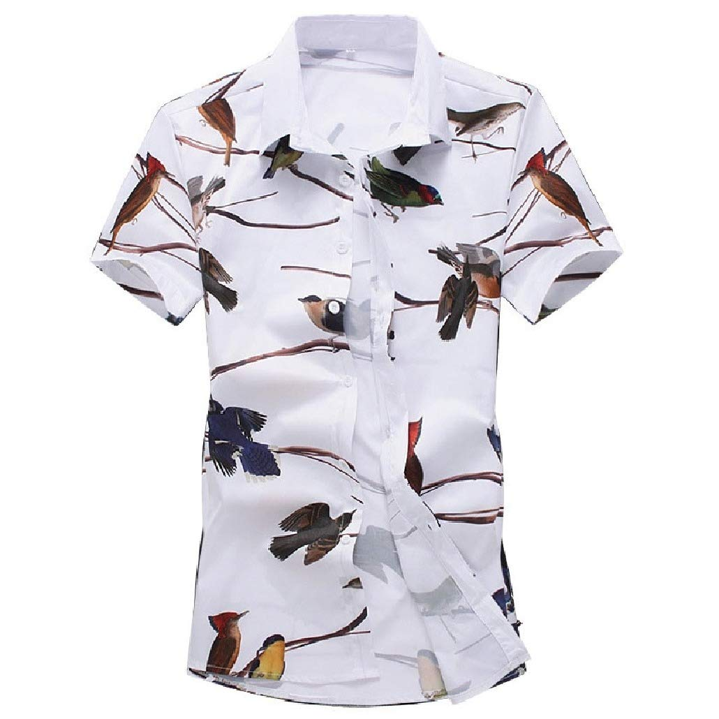 DressU Mens Patterned Short-Sleeve Silm Fit Summer Chinese Style Work Shirt