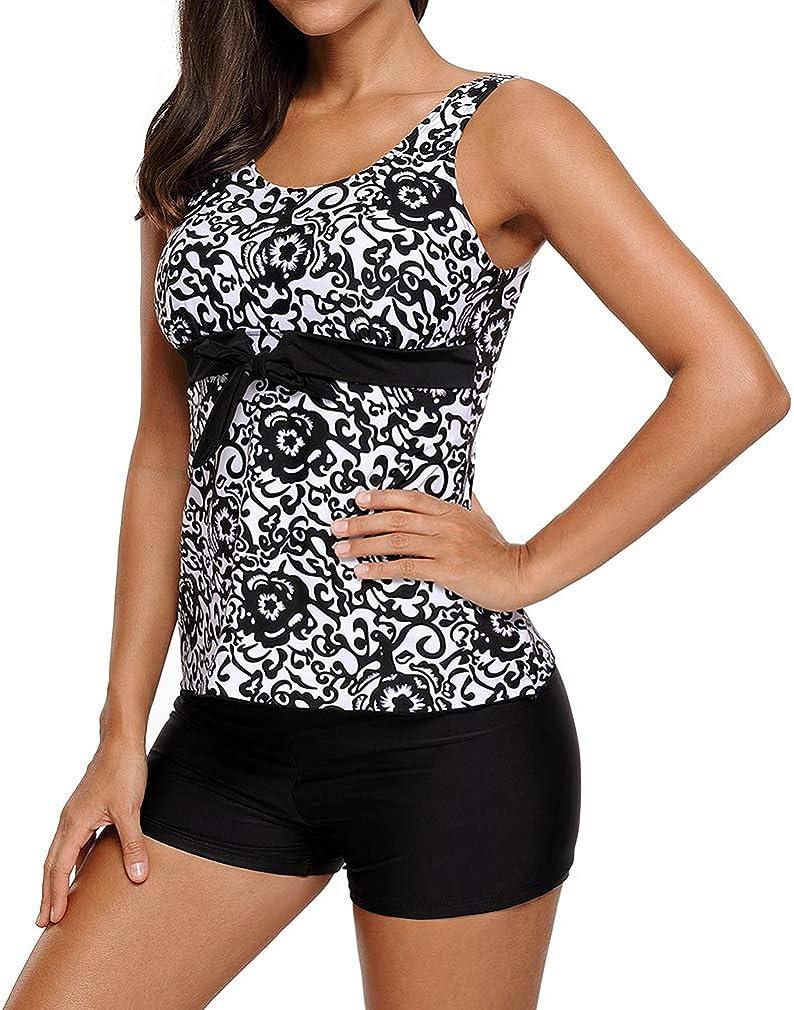AidShunn Womens Tankini Sets Floral Print Ladies Shorts Swimming Costumes Two Piece Bikini Swimsuits Top /& Bottom Bathing Suit