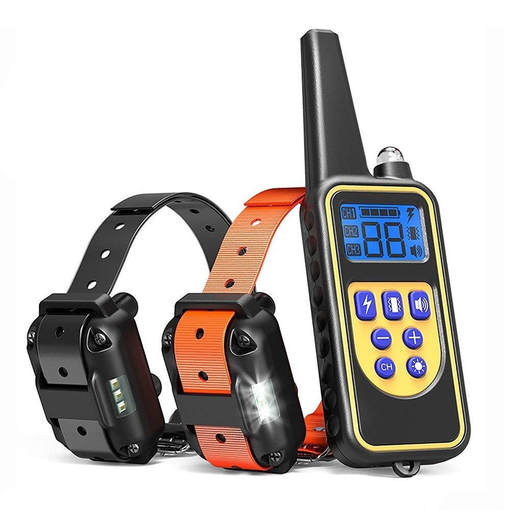 BEITAI Pet Training Collar, Electronic Remote Control, Waterproof, Ultra Long Range 875 Yards, 4 LED Modes, Two Packs