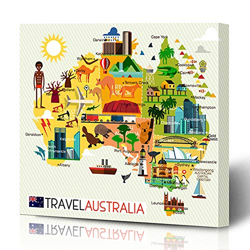(Ahawoso Canvas Prints Wall Art 12x16 Inches Brown Australian Map Australia Travel Boat Abstract Opera Sidney City House Plane Decor for Living Room Office Bedroom)