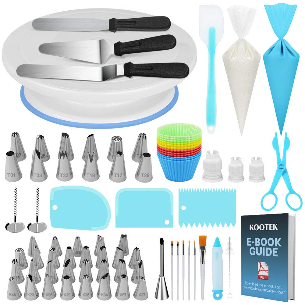 Kootek 178 Pcs Cake Decorating Kit Supplies with Cake Turntable Numbered Piping Tips E-book Guide Pastry Bags Frosting Spatula Icing Smoother Decoration Pen Cake Paint Brush Silicone Baking Cups