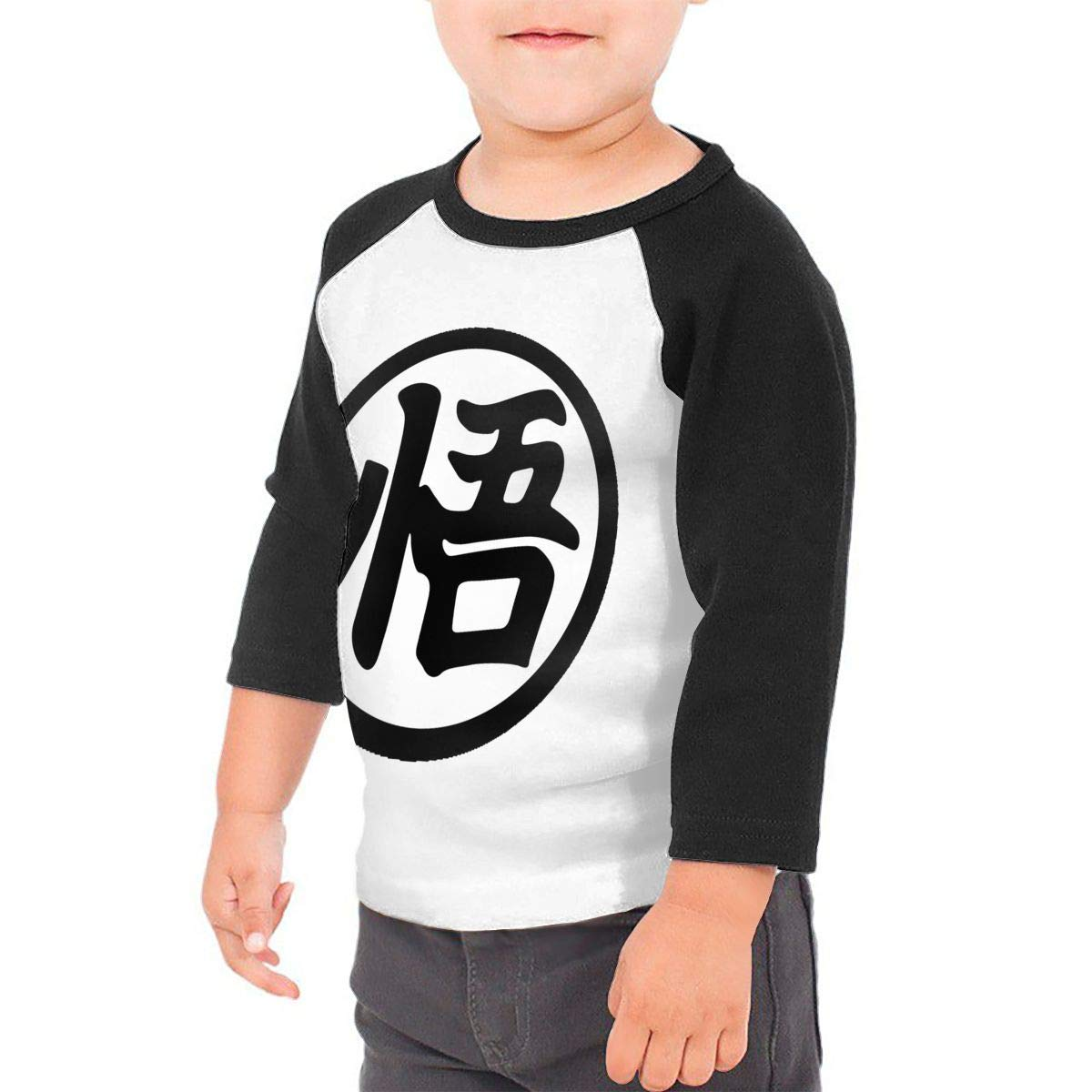 Black6Red Goku Kanji Childrens 3//4 Sleeve T-Shirt