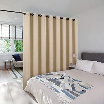 Fine Nicetown Privacy Screen Room Divider Panel Home Decoration Metal Grommet Top Floor To Ceiling Room Divider For Shared Apartment Biscotti Beige One Home Interior And Landscaping Palasignezvosmurscom