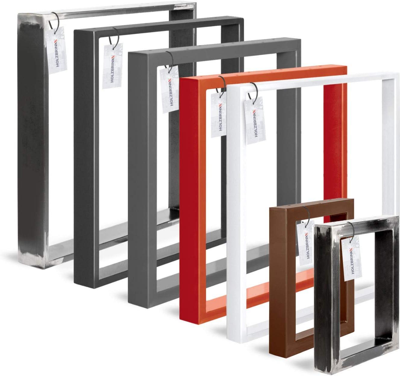 HOLZBRINK Patas de Mesa perfiles de acero 80x20 mm, forma de marco 60x72 cm, Negro Intenso, 1 Pieza, HLT-01-C-CC-9005