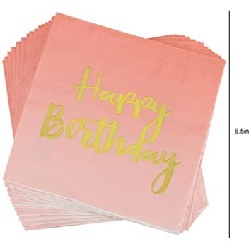 f/ür 20 Becher Teller Kompanion 102-teiliges Pink und Gold Motto Happy Birthday Set einschlie/ßlich Banner Servietten und Tischdecke Strohhalme