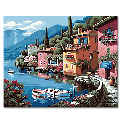 BOSHUN Paint by Numbers Kits with Brushes and Acrylic Pigment DIY Canvas Painting for Adults Beginner- Lakeside Village 16 x 20 inch(Without - Lakeside Village