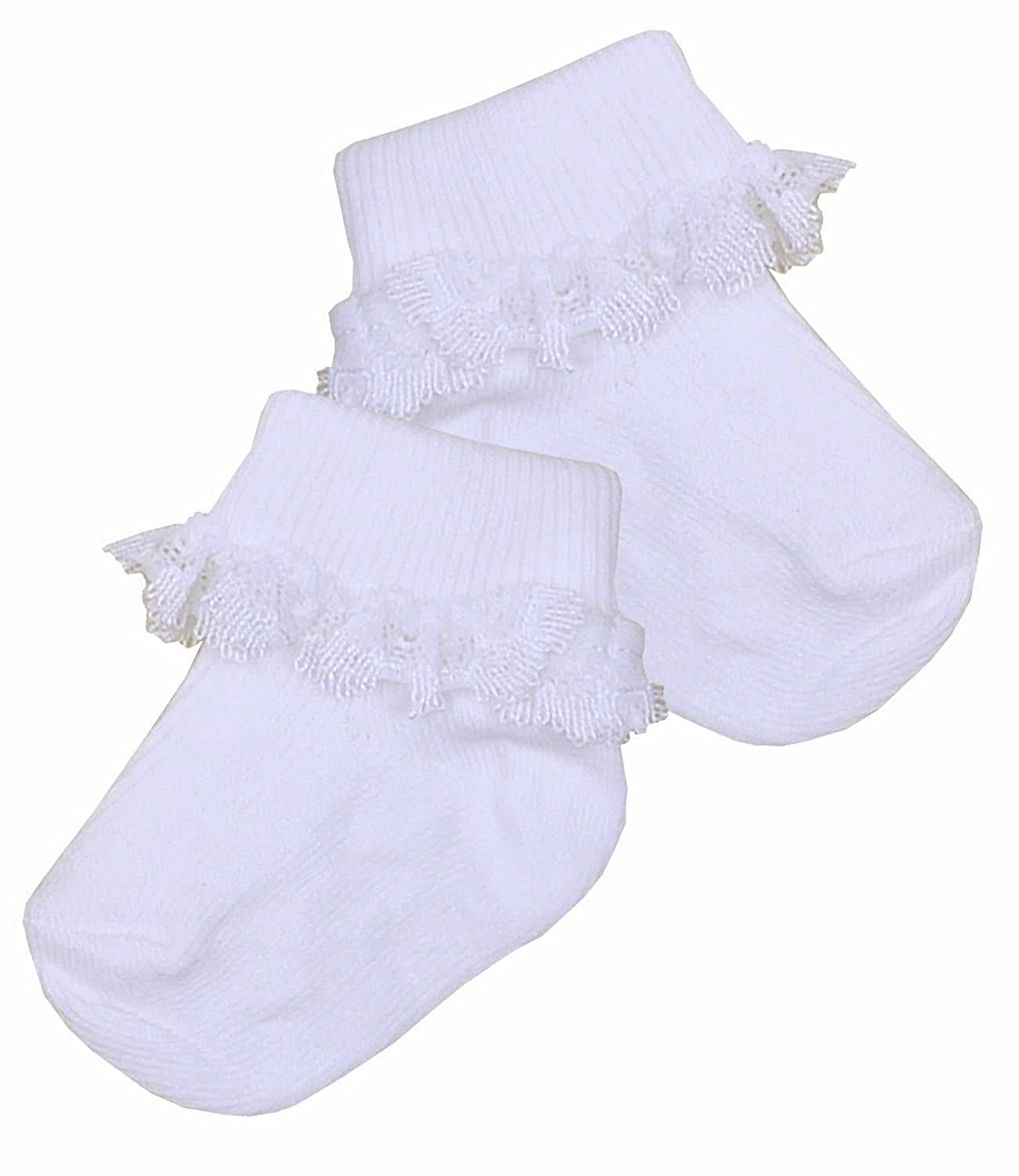 Amazon BabyPrem Preemie Baby Socks Girls Frilly Lace Top White