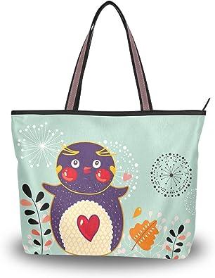 Cute Cartoon Parrot Pattern Print Womens Fashion Large Shoulder Bag Handbag Tote Purse for Lady