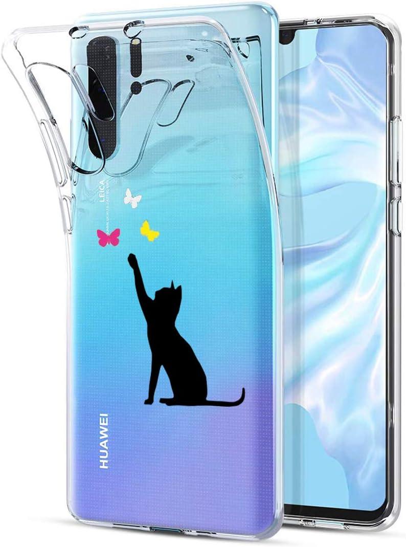 Oihxse Mode Transparent Silicone Case Compatible pour Huawei Honor V20 Coque, Ultra Mince Souple TPU Mignon Animal Série Protection de Housse Anti-Scrach Bumper Etui -Montagne Chat