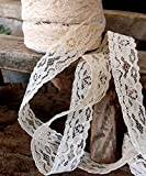"Ivory Chantilly Lace Ribbon 1"" x 25 Yards"