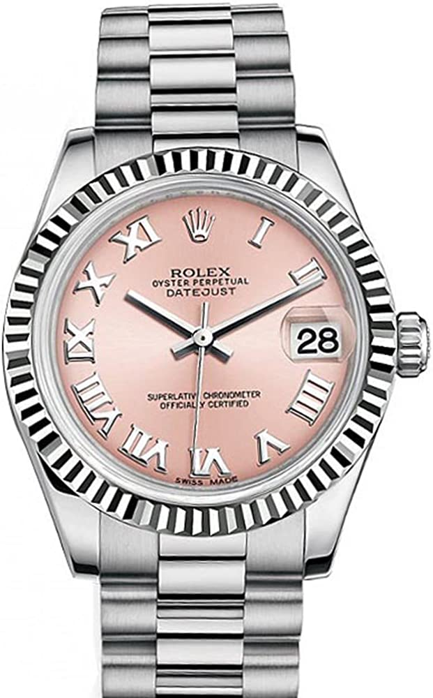 Rolex Datejust 31mm Pink Roman Dial White Gold Ladies Watch 178274