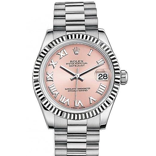 Rolex Datejust 178274 - Reloj de pulsera para mujer, 31 mm, esfera romano rosa, oro blanco: Amazon.es: Relojes
