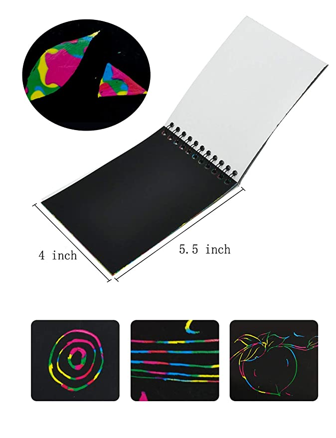 4 Pack Miracliy Rainbow Scratch Art Notebooks for Children with Colorful Mini Notebooks and Wooden Styluses