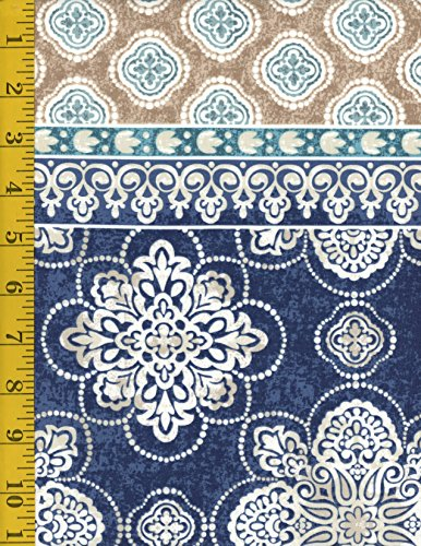 Santorini Stripe - Cotton Fabric - Timeless Treasures Santorini Medallion Stripe MICHELE-C5092-BLUE