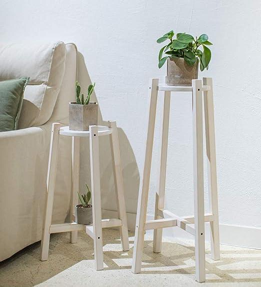 Holzfarbe, Weißer Einfacher Blumentopfständer Aus Holz ...