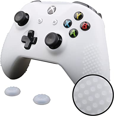 Pandaren® TACHONADO cubierta de silicona Fundas protectores antideslizante para Xbox One S, Xbox One X Mando x 1 (blanco) + Thumb grips x 2: Amazon.es: Videojuegos