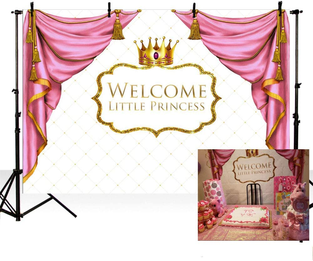 flowers pink gold floral princess 1st birthday sign poster banner baby shower baptism backdrop crown roses baby girl christening