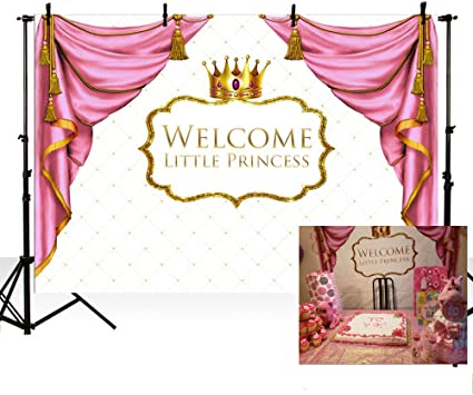 15x10ft Girl Happy Birthday Baby Shower Background Colorful Stars Crown Pink Bow Princess Theme Party Background Cake Table Decoration Studio Props LYFU532