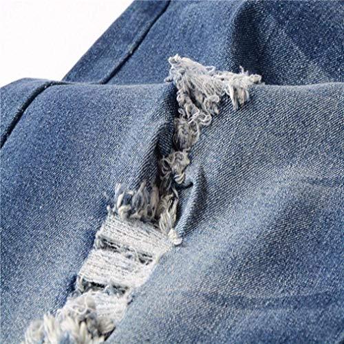 Moderna Rt Jeans Denim Grün Di Pantaloni Uomini Skinny Vestibilità Blu Dei Torn Biker Sottili Degli Uomo Elastici N Rtete Estate Casual w4qgZ04n