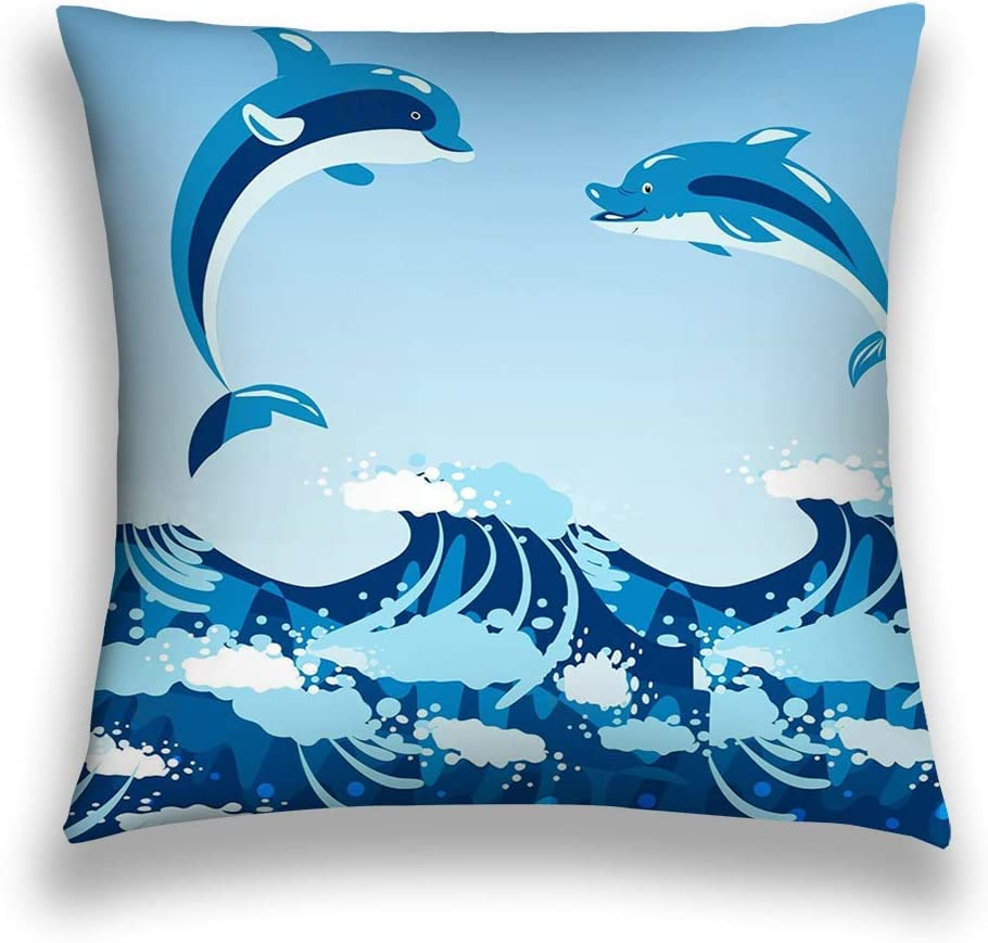 Ssheley Square Throw Pillow Case Velvet Cushion Cover 18 X 18 Cute Dolphins Aquatic Marine Nature Ocean Blue Mam Amazon Co Uk Kitchen Home