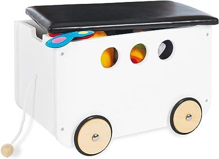 Pinolino - Caja de juguetes Jim, de madera y piel sintética, con cordón y ruedas de madera