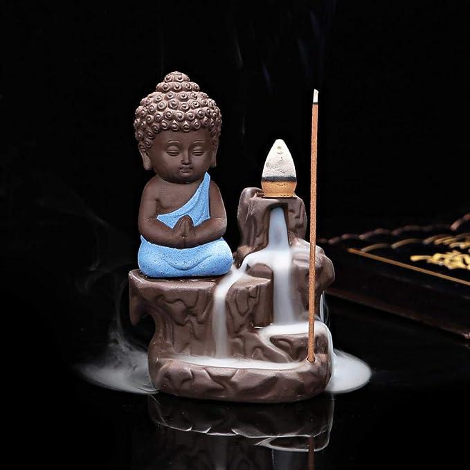 Details about  /Mountain Stream Little Monk Burner Blackflow Incense Cones Smoke Ceramic Censers