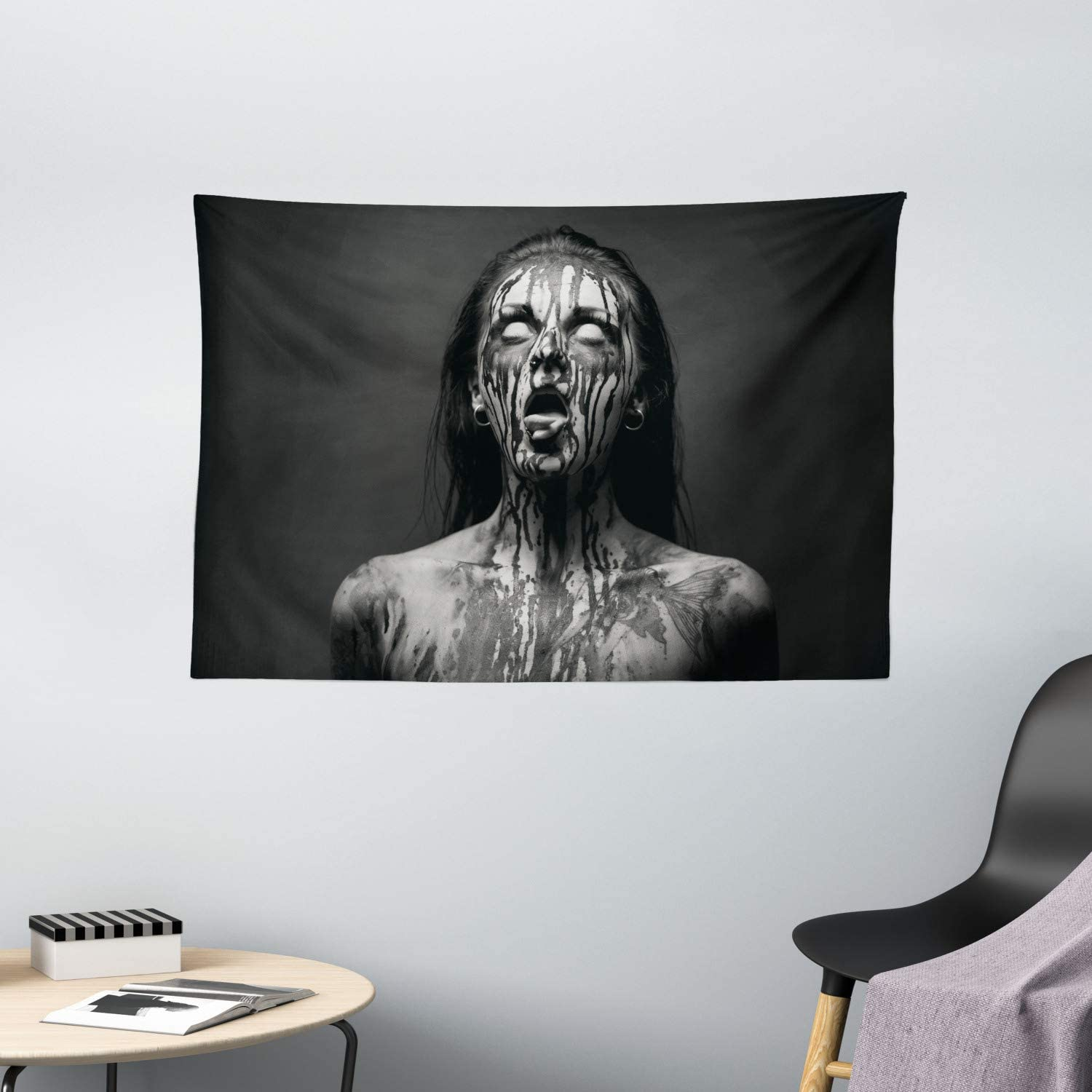 Horror Tapestry Wall Hanging Spooky Creepy Scream Scary Tapestries Dorm Room Bedroom Decor Art Printed In The Usa Small To Giant Sizes Home Kitchen Com Home Decor