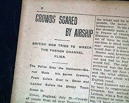 French Aviator LOUIS BLERIOT 1st English Channel AIRPLANE Flight 1909 Newspaper THE GLOBE, South Bethlehem, Pennsylvania, July 26, 1909