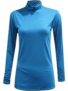 Nuevo para mujer Llanura de manga larga Casual Jersey Básico Elástico Cuello en V Camiseta Camiseta Top