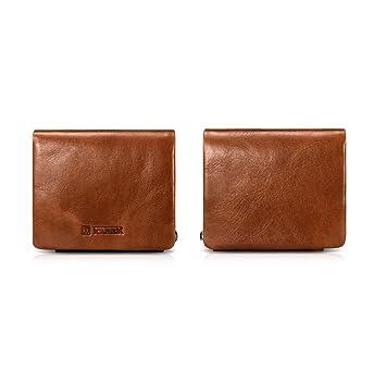 Tamano de bolsillo Hombres Billetera,ICARER [100% Cuero Real] Cartera triple con 11 ranuras para tarjetas de crédito y 1 bolsillo para monedas con ...