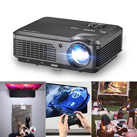 Projector 4400 Lumens Portable Home Theater LED LCD Support HD 1080P Wuxga Movie Gaming Video Proyector for Fire TV Stick Laptop Smartphone PC Xbox ...