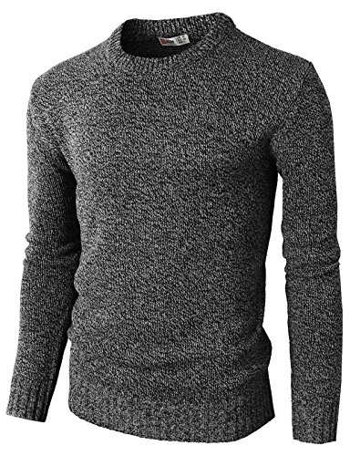 Patterned Knit Sweater (H2H Mens Casual Slim Stripe Patterned Knit Pullover Sweater Of Various Colors Black US XL/Asia 2XL (KMOSWL0122))