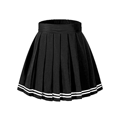 Beautifulfashionlife Women's High Waisted Pleated Mini Skirt A-line Shorts with Elastic Wide Waistband: Clothing