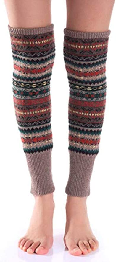 1940s Stockings: Hosiery, Nylons, and Socks History Wonderful Lifetime Women Fashion Winter Bohemian High Leg Knit Crochet Leg Warmers $11.99 AT vintagedancer.com
