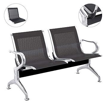 PrimeMatik - Bancada para sala de espera con sillas ergonómicas negras de 2 plazas: Amazon.es: Juguetes y juegos