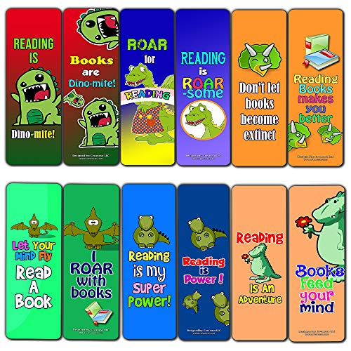 Bookmark Combo Packs - Creanoso Dinosaur Kingdom Reading Bookmark for Kids (12-Pack) - Premium Gift Set - Awesome Bookmarks for Boys & Girls, Teens - Six Bulk Assorted Bookmarks Designs - Premium Gift Design