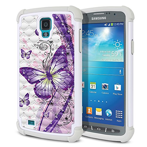 Samsung Galaxy S4 Active I537 I9295 Case, Fincibo (TM) Dual Layer Shock Proof Hybrid Hard Protector Cover Anti-Drop Silicone Star Studded Rhinestone Bling, Purple Butterfly (Style 2) (Active S4 Samsung Galaxy Cases)