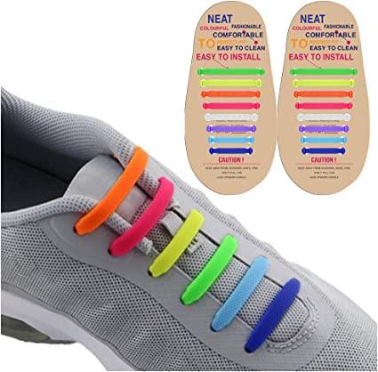 No Tie Shoelaces for Kids and Adults Waterproof Silicone Flat Running Shoe Laces Elastic Athletic Sport Shoe Laces for Sneakers Board Shoes Casual Shoes Tieless Elastic Silicone No Tie Shoelaces