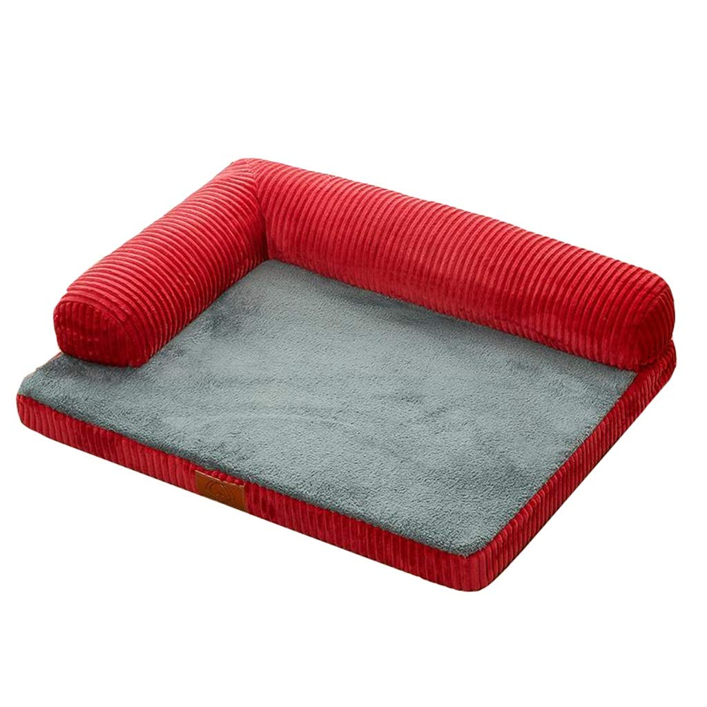 D Small D Small Pet house Dog Mattress, Luxurious With Pillow Backrest Dog Sofa Stripe Pet Mat (color   D, Size   S)