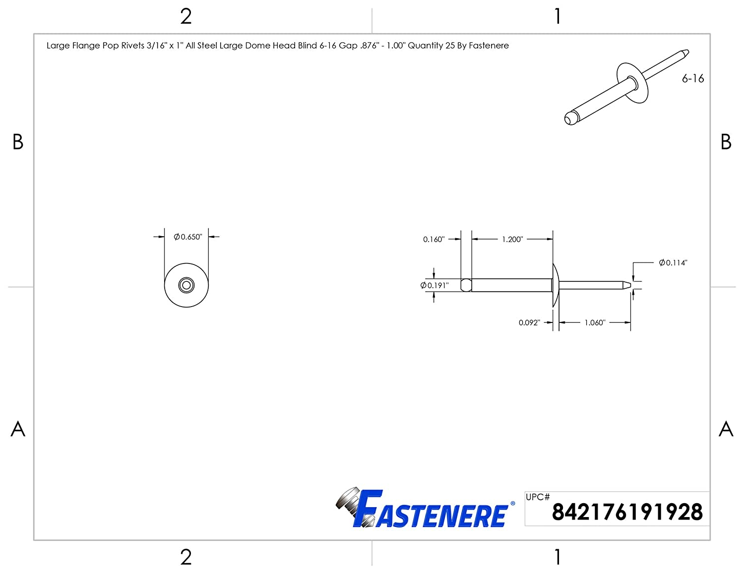 .625 Quantity 50 by Fastenere Large Flange Pop Rivets 3//16 x 5//8 All Steel Large Dome Head Blind 6-10 Gap .501