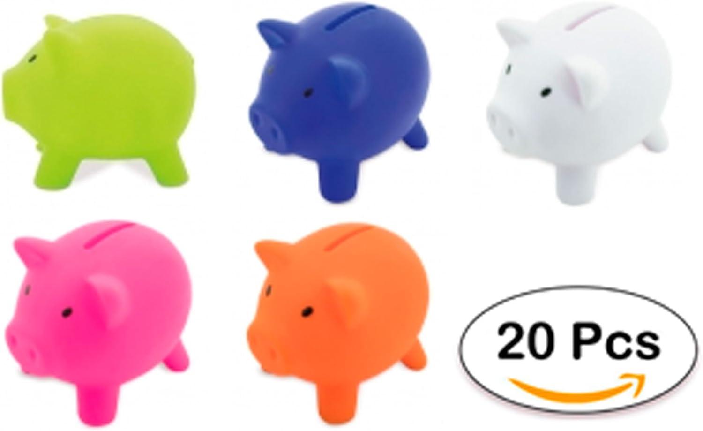 DISOK Lote de 20 Huchas Infantiles Piggy - Huchas Cerditos, Cerdos. Huchas para Niños Originales. Comprar Huchas para Regalos de cumpleaños, colegios, Infantiles Cerditos
