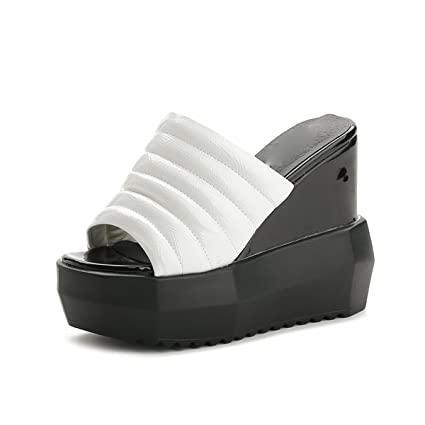 AJUNR Moda/Elegante/Transpirable/Sandalias Pendiente del Talón Cool Zapatillas Hembra Verano 13cm