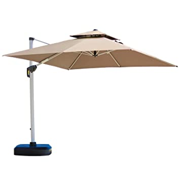 Amazon.com : PURPLE LEAF 10 Feet Double Top Deluxe Square Patio Umbrella  Offset Hanging Umbrella Outdoor Market Umbrella Garden Umbrella, Beige :  Garden U0026 ...