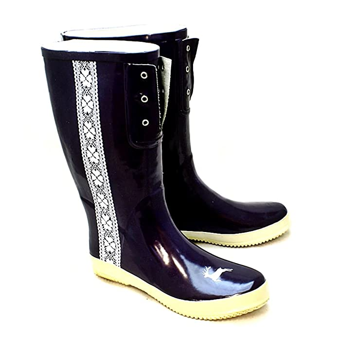 Sendit4me Brown Wellington Boots With Mock Cream Lace and Lilac Edging xHVmr