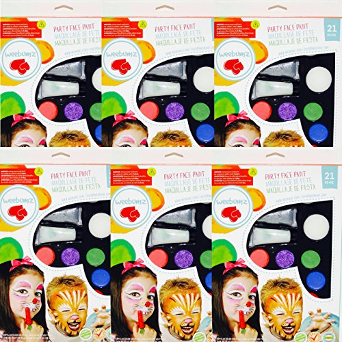 Face Paint Kit for Kids (Non-Toxic, Water Based) Professional Quality Children's Painting Kit with Brushes, Sponges, and Stencils by Weebumz - Includes Bonus Video and Ebook, 5 Pack by Weebumz