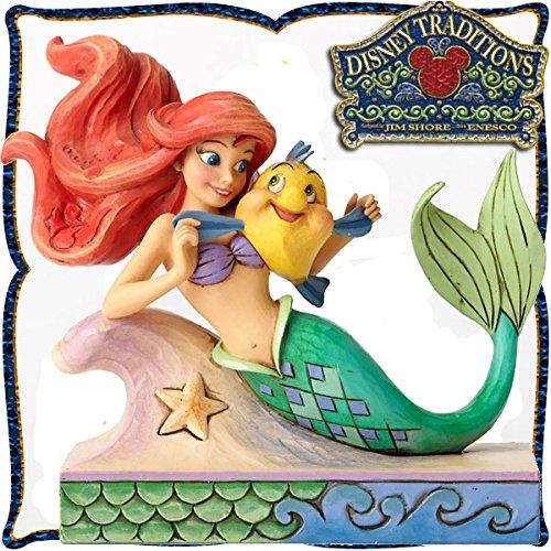 ディズニートラディション 『Ariel with Flounder』 アリエルとフランダー (リトルマーメイド) レジン製木彫り調フィギュア B01M3N1LCV